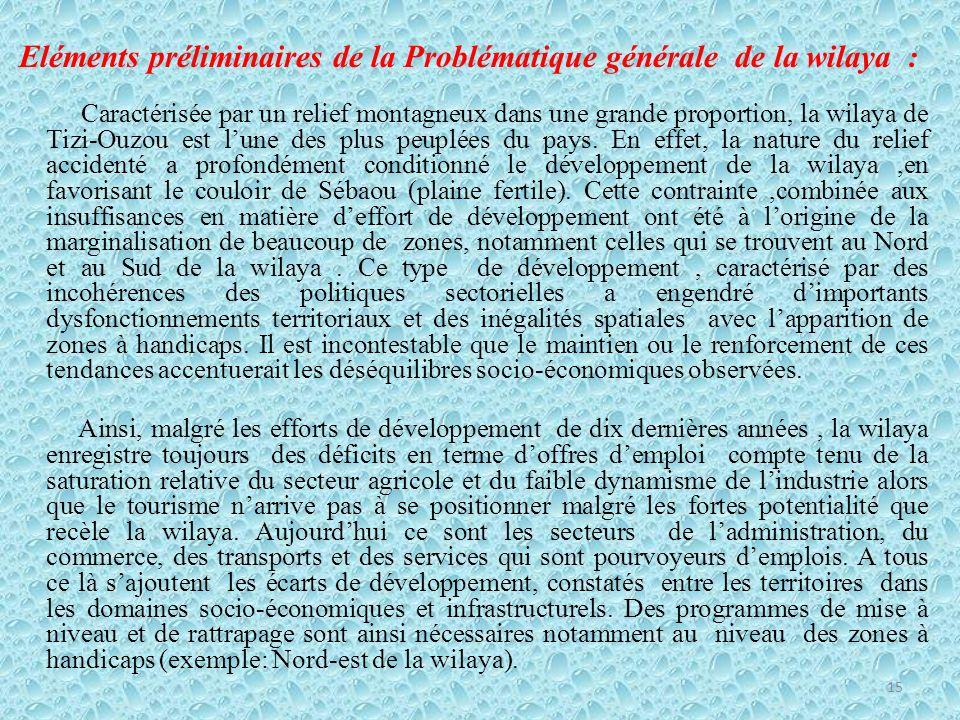 Eléments préliminaires de la Problématique générale de la wilaya : Caractérisée par un relief montagneux dans une grande proportion, la wilaya de Tizi-Ouzou est lune des plus peuplées du pays.
