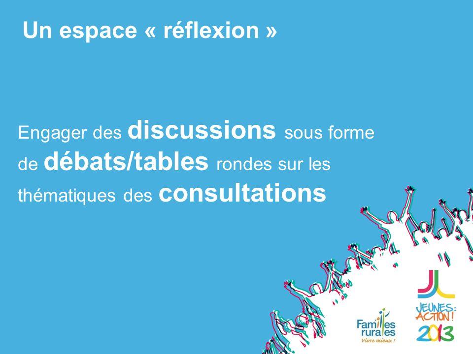 Engager des discussions sous forme de débats/tables rondes sur les thématiques des consultations Un espace « réflexion »