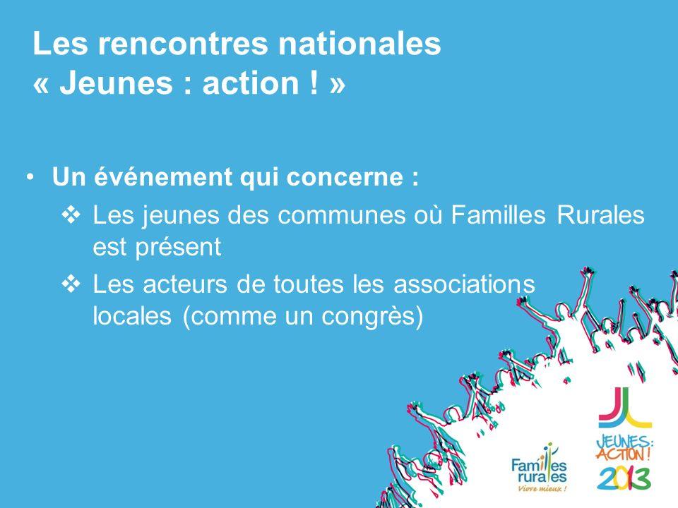 Un événement qui concerne : Les jeunes des communes où Familles Rurales est présent Les acteurs de toutes les associations locales (comme un congrès) Les rencontres nationales « Jeunes : action .