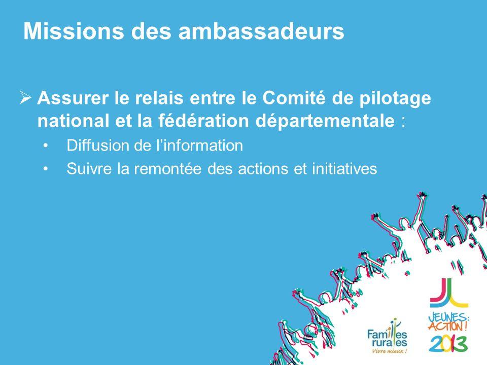 Assurer le relais entre le Comité de pilotage national et la fédération départementale : Diffusion de linformation Suivre la remontée des actions et initiatives Missions des ambassadeurs