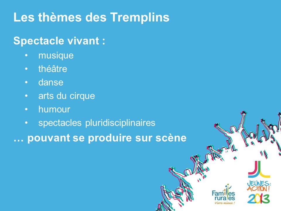Spectacle vivant : musique théâtre danse arts du cirque humour spectacles pluridisciplinaires … pouvant se produire sur scène Les thèmes des Tremplins