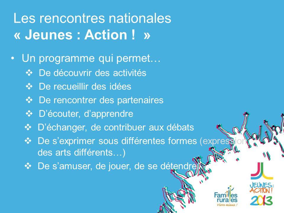 Un programme qui permet… De découvrir des activités De recueillir des idées De rencontrer des partenaires Découter, dapprendre Les rencontres nationales « Jeunes : Action .