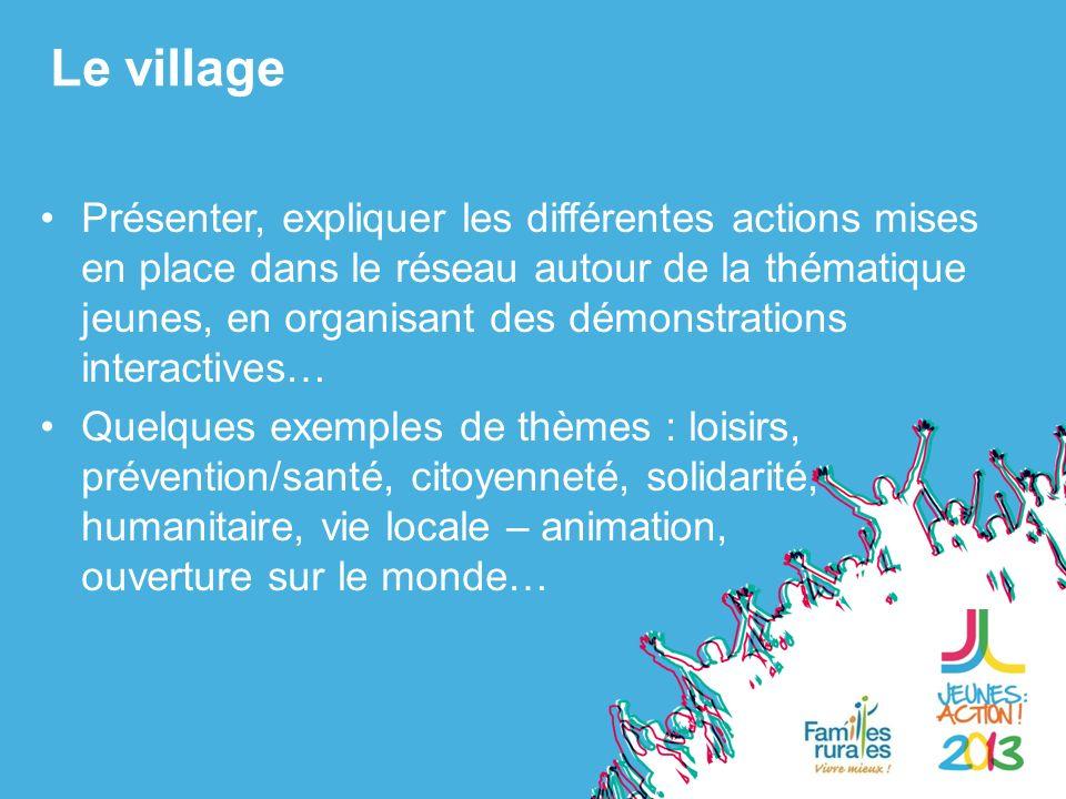 Présenter, expliquer les différentes actions mises en place dans le réseau autour de la thématique jeunes, en organisant des démonstrations interactives… Quelques exemples de thèmes : loisirs, prévention/santé, citoyenneté, solidarité, humanitaire, vie locale – animation, ouverture sur le monde… Le village