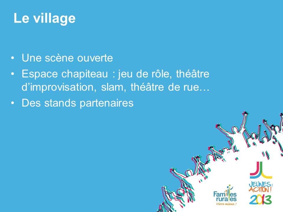 Une scène ouverte Espace chapiteau : jeu de rôle, théâtre dimprovisation, slam, théâtre de rue… Des stands partenaires Le village