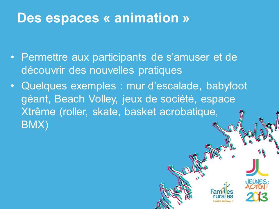 Permettre aux participants de samuser et de découvrir des nouvelles pratiques Quelques exemples : mur descalade, babyfoot géant, Beach Volley, jeux de société, espace Xtrême (roller, skate, basket acrobatique, BMX) Des espaces « animation »