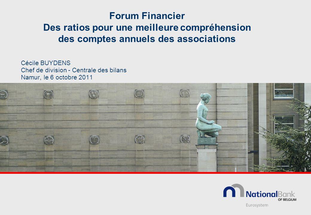 Forum Financier Des ratios pour une meilleure compréhension des comptes annuels des associations Cécile BUYDENS Chef de division - Centrale des bilans