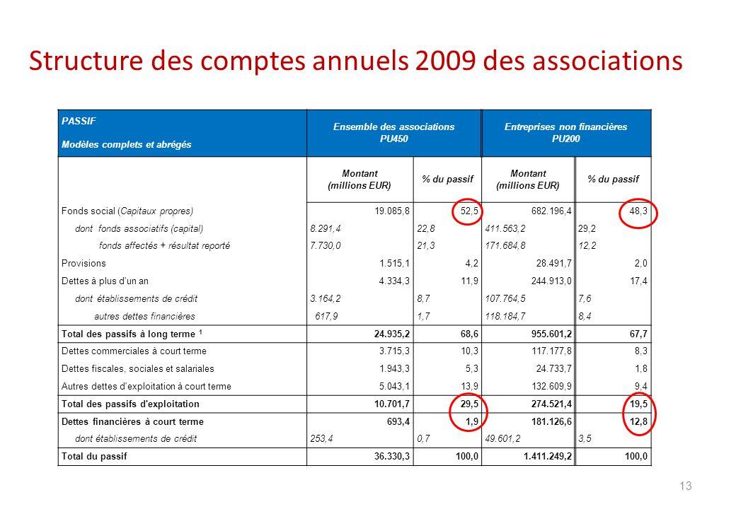 Structure des comptes annuels 2009 des associations 13 PASSIF Ensemble des associations PU450 Entreprises non financières PU200 Modèles complets et ab
