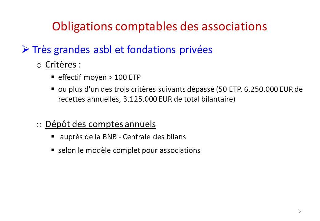 Obligations comptables des associations Grandes asbl et fondations privées o Critères : n atteignant pas les critères des très grandes fondations atteignant ou dépassant plus d un des trois critères suivants (5 ETP, 250.000 EUR de recettes annuelles, 1.000.000 EUR de total bilantaire) o Dépôt des comptes annuels auprès de la BNB - Centrale des bilans selon le modèle abrégé pour associations 4