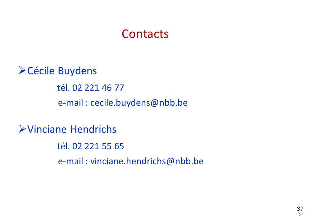 37 Contacts Cécile Buydens tél. 02 221 46 77 e-mail : cecile.buydens@nbb.be Vinciane Hendrichs tél. 02 221 55 65 e-mail : vinciane.hendrichs@nbb.be