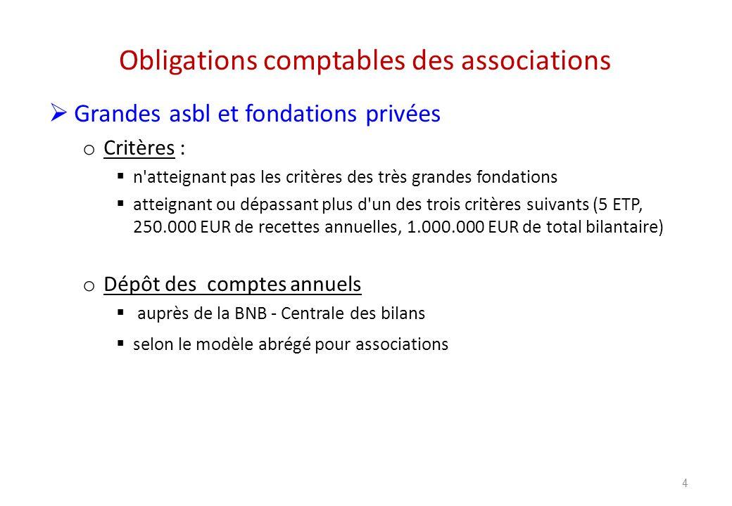 Obligations comptables des associations Grandes asbl et fondations privées o Critères : n'atteignant pas les critères des très grandes fondations atte