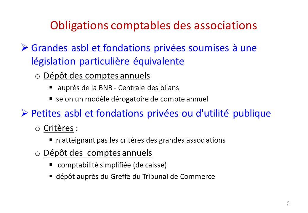 Obligations comptables des associations 6 Cas particuliers o AISBL o Grandes fondations d utilité publique dépôt auprès du Tribunal de Commerce