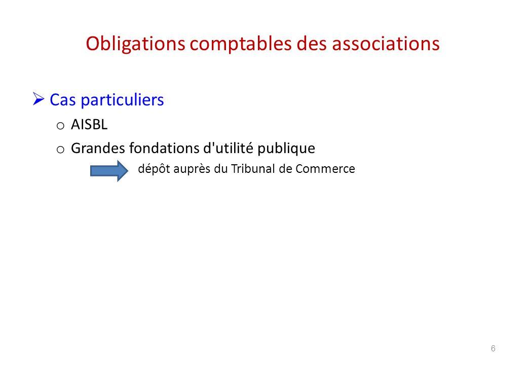 Obligations comptables des associations 6 Cas particuliers o AISBL o Grandes fondations d'utilité publique dépôt auprès du Tribunal de Commerce