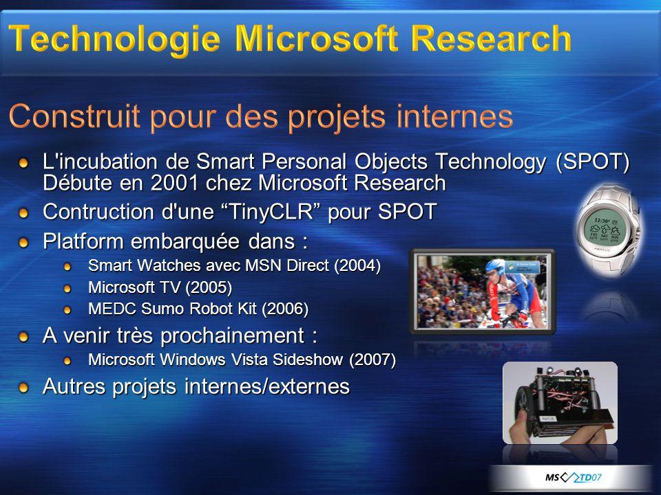 L'incubation de Smart Personal Objects Technology (SPOT) Débute en 2001 chez Microsoft Research Contruction d'une TinyCLR pour SPOT Platform embarquée