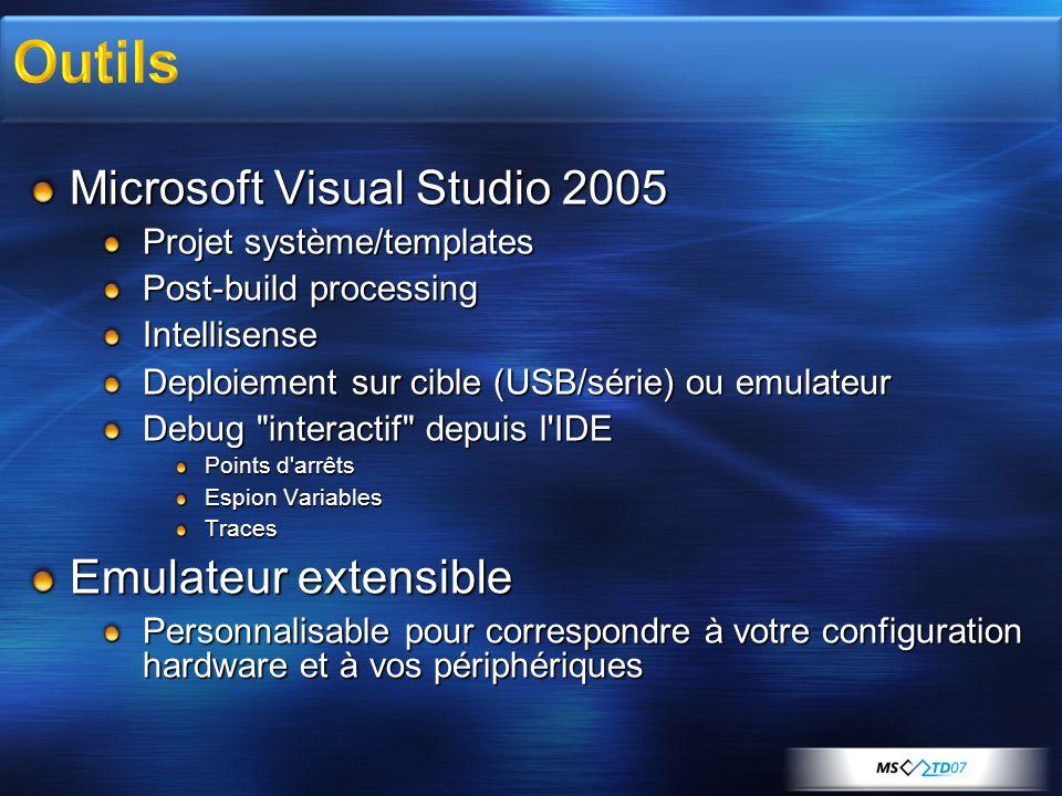 Microsoft Visual Studio 2005 Projet système/templates Post-build processing Intellisense Deploiement sur cible (USB/série) ou emulateur Debug