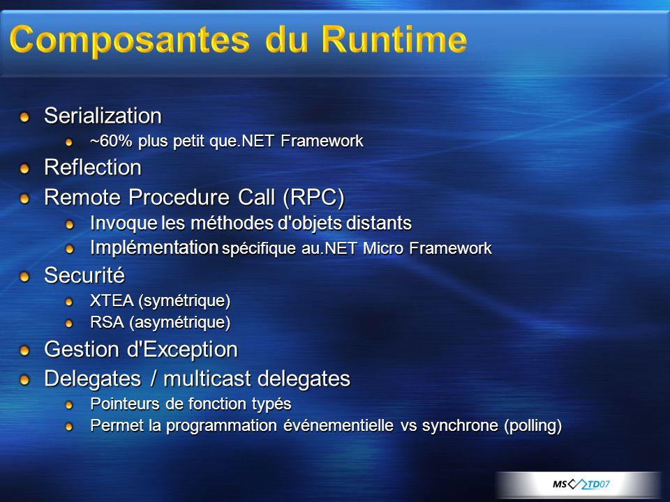 Serialization ~60% plus petit que.NET Framework Reflection Remote Procedure Call (RPC) Invoque les méthodes d'objets distants Implémentation spécifiqu