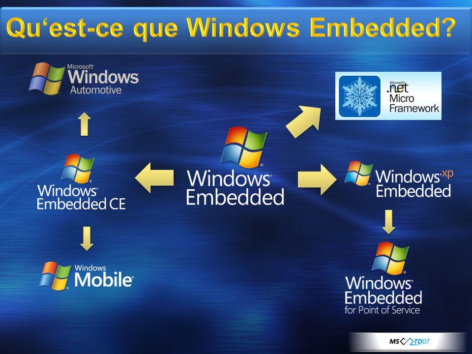 Modèle objet basé sur Windows Presentation Foundation (WPF) Routage des évènements d entrée Système Layout Dimensionnement de contenu Text flow Support riche pour les contrôles imbriqués Bitmap fonts Images Pens, brushes, colors Primitives Vector Alpha blending