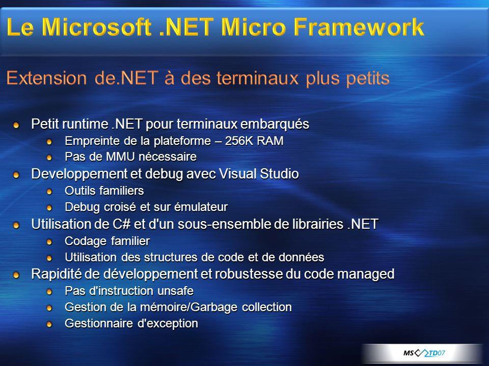 Petit runtime.NET pour terminaux embarqués Empreinte de la plateforme – 256K RAM Pas de MMU nécessaire Developpement et debug avec Visual Studio Outil