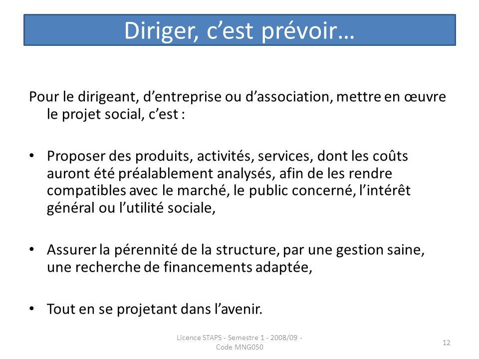 Diriger, cest prévoir… Pour le dirigeant, dentreprise ou dassociation, mettre en œuvre le projet social, cest : Proposer des produits, activités, serv