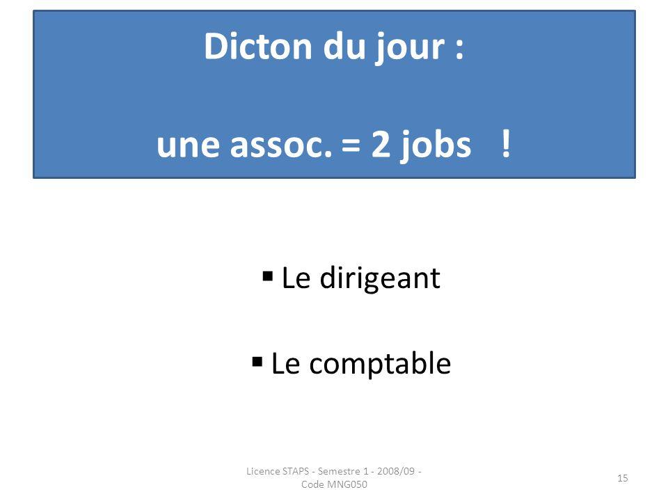 Dicton du jour : une assoc. = 2 jobs ! Le dirigeant Le comptable Licence STAPS - Semestre 1 - 2008/09 - Code MNG050 15