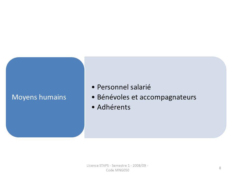 Personnel salarié Bénévoles et accompagnateurs Adhérents Moyens humains Licence STAPS - Semestre 1 - 2008/09 - Code MNG050 8