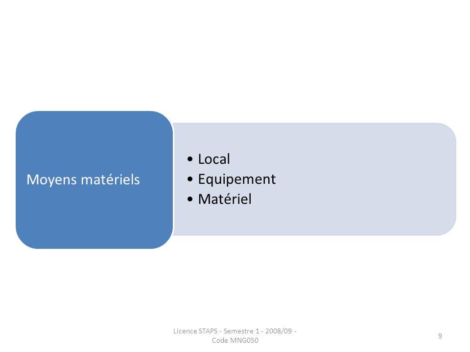 Local Equipement Matériel Moyens matériels Licence STAPS - Semestre 1 - 2008/09 - Code MNG050 9