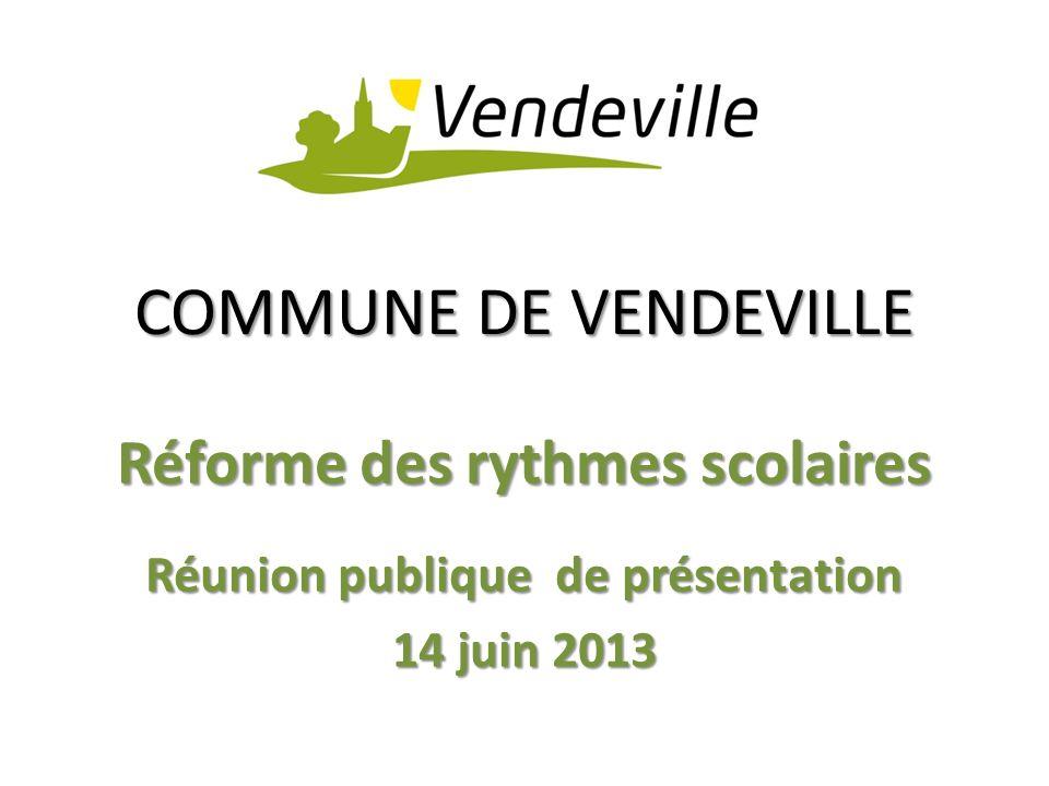 COMMUNE DE VENDEVILLE Réforme des rythmes scolaires Réunion publique de présentation 14 juin 2013