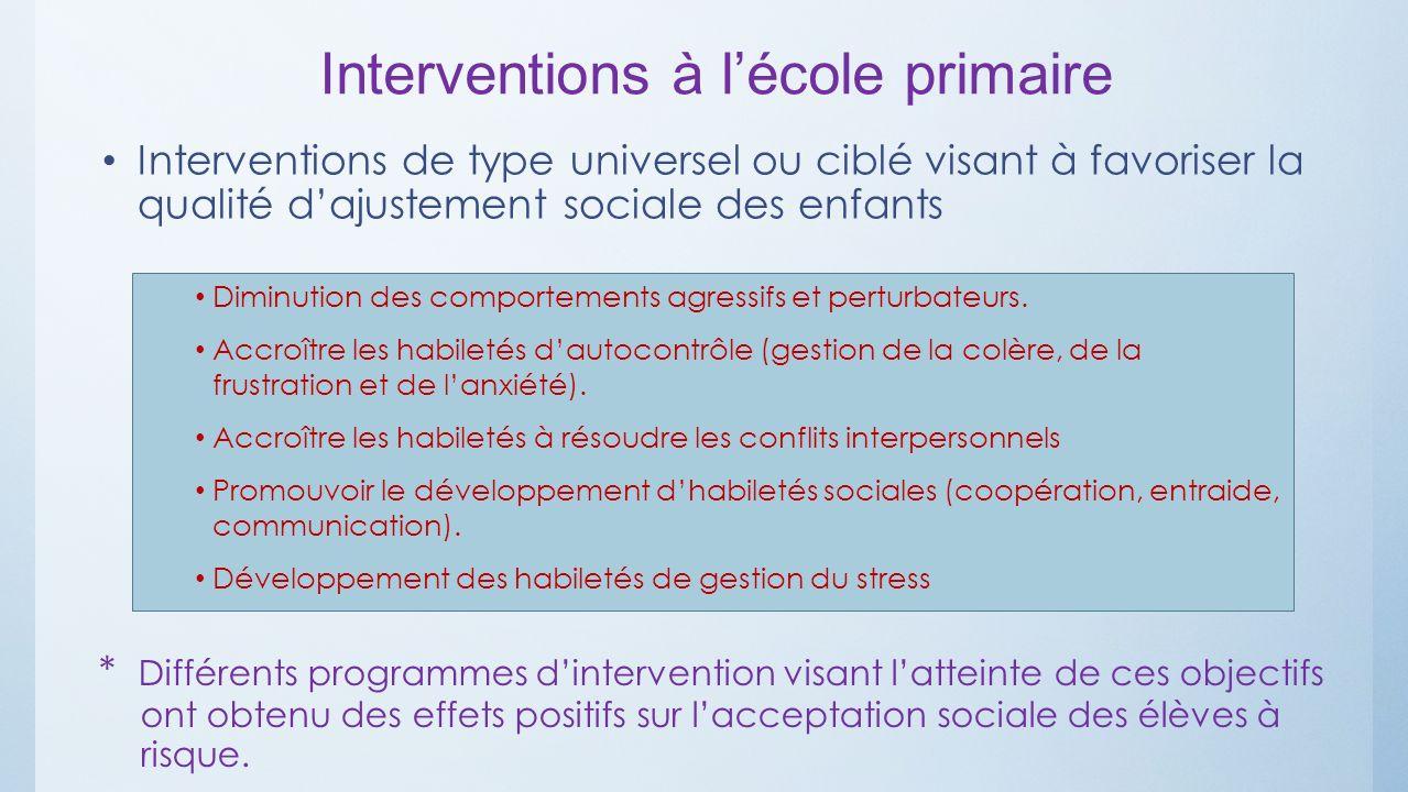 Interventions à lécole primaire Interventions de type universel ou ciblé visant à favoriser la qualité dajustement sociale des enfants Diminution des