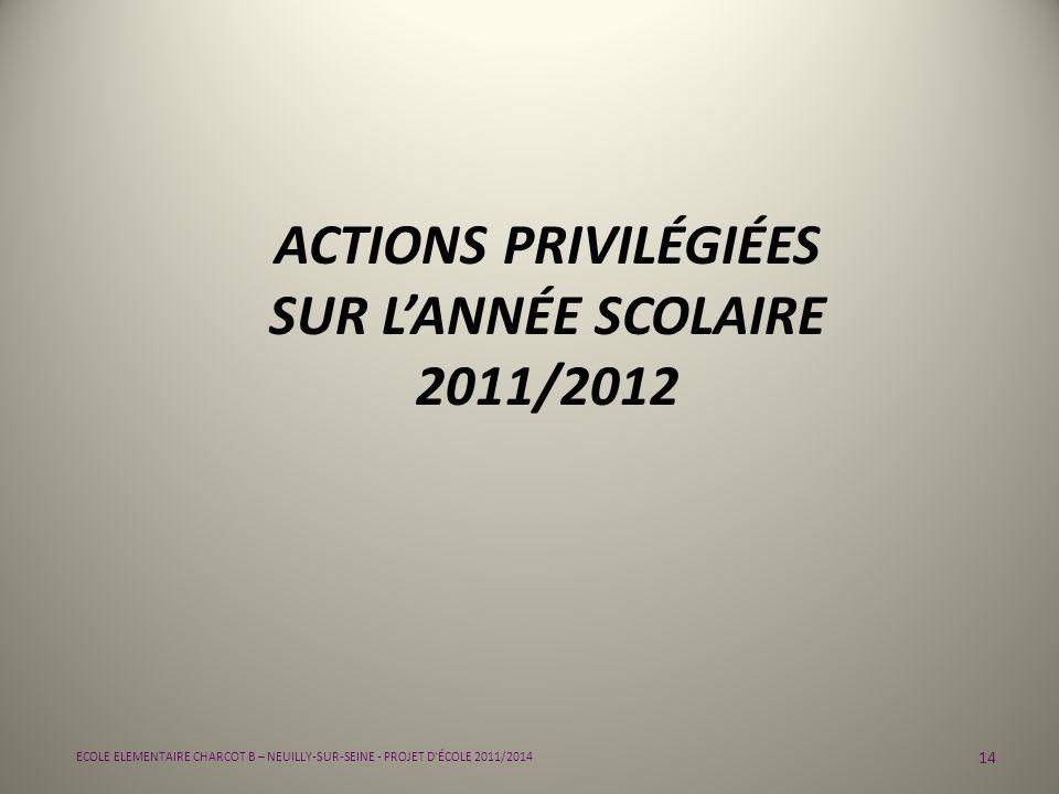 14 ECOLE ELEMENTAIRE CHARCOT B – NEUILLY-SUR-SEINE - PROJET D'ÉCOLE 2011/2014 ACTIONS PRIVILÉGIÉES SUR LANNÉE SCOLAIRE 2011/2012