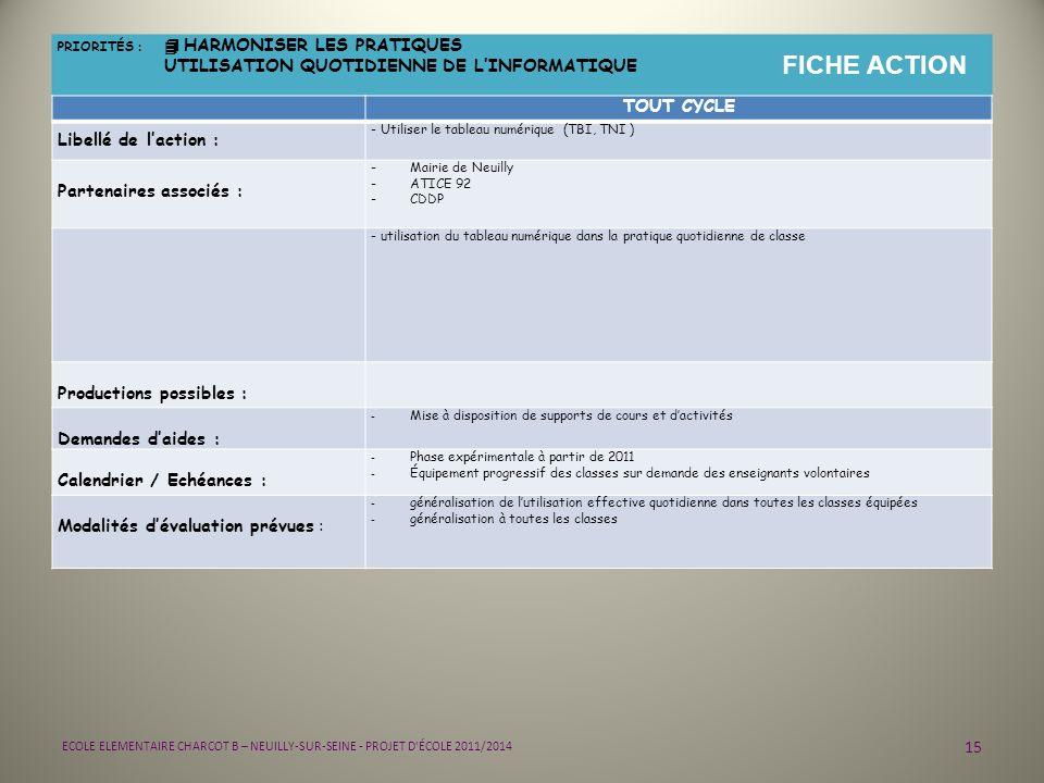 15 ECOLE ELEMENTAIRE CHARCOT B – NEUILLY-SUR-SEINE - PROJET D'ÉCOLE 2011/2014 PRIORITÉS : 4 HARMONISER LES PRATIQUES UTILISATION QUOTIDIENNE DE LINFOR