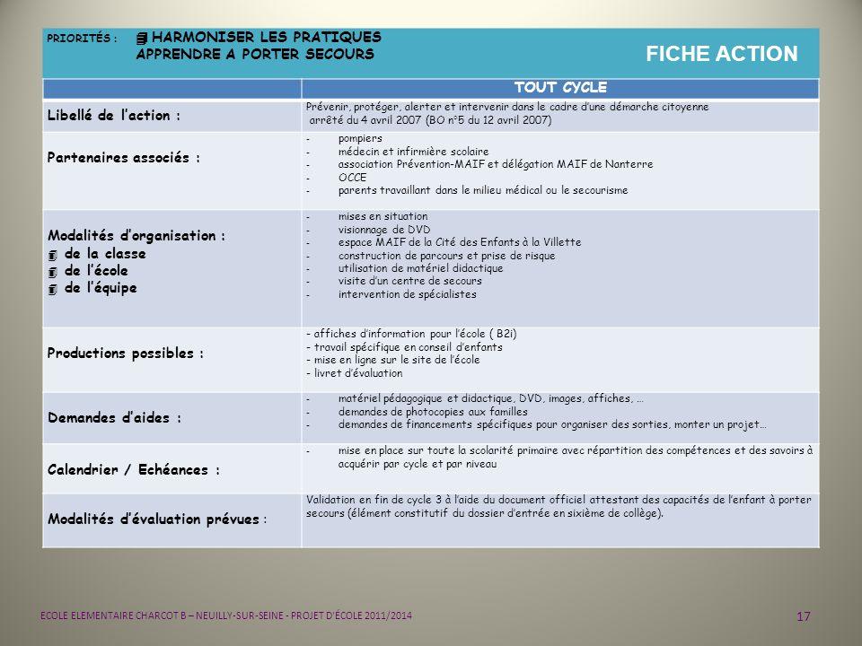 17 ECOLE ELEMENTAIRE CHARCOT B – NEUILLY-SUR-SEINE - PROJET D'ÉCOLE 2011/2014 PRIORITÉS : 4 HARMONISER LES PRATIQUES APPRENDRE A PORTER SECOURS FICHE