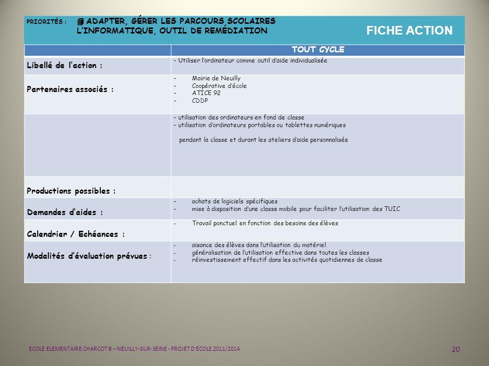 20 ECOLE ELEMENTAIRE CHARCOT B – NEUILLY-SUR-SEINE - PROJET D'ÉCOLE 2011/2014 PRIORITÉS : 4 ADAPTER, GÉRER LES PARCOURS SCOLAIRES LINFORMATIQUE, OUTIL