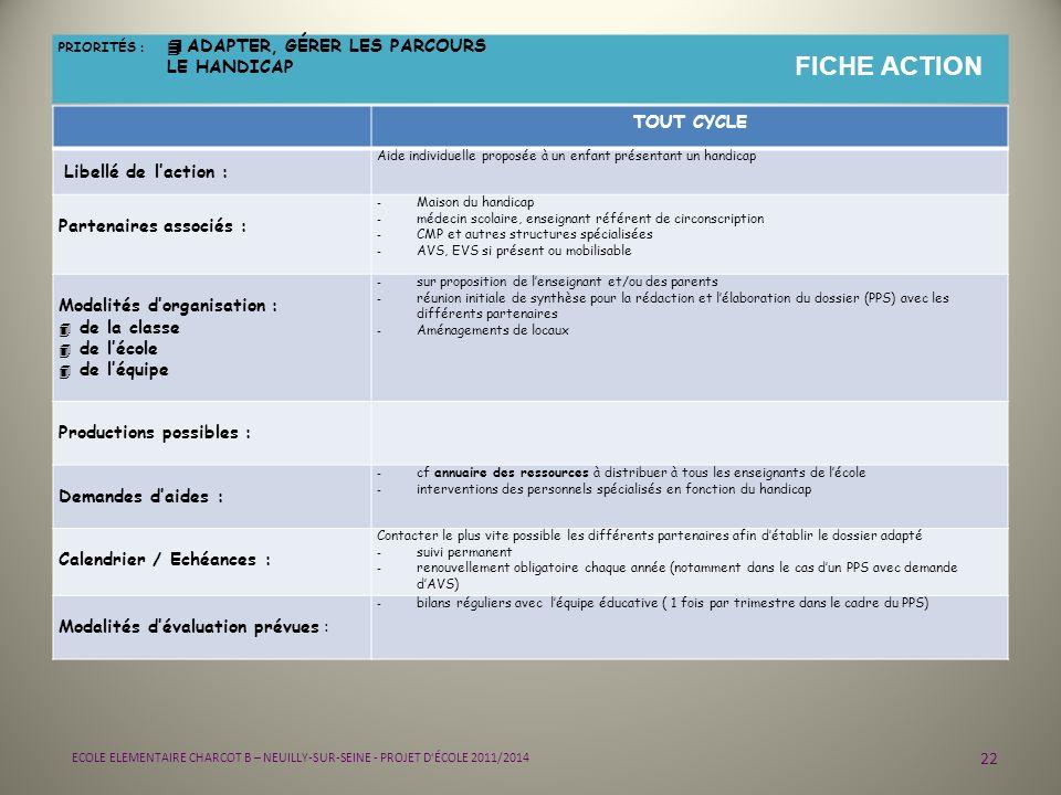 22 ECOLE ELEMENTAIRE CHARCOT B – NEUILLY-SUR-SEINE - PROJET D'ÉCOLE 2011/2014 PRIORITÉS : 4 ADAPTER, GÉRER LES PARCOURS LE HANDICAP FICHE ACTION TOUT