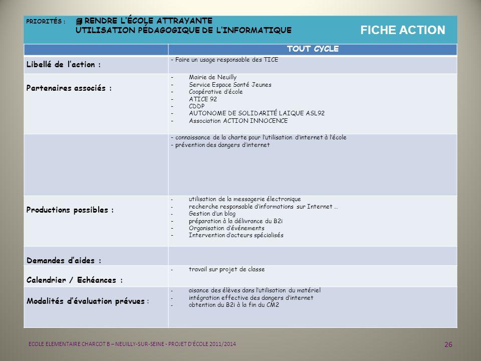26 ECOLE ELEMENTAIRE CHARCOT B – NEUILLY-SUR-SEINE - PROJET D'ÉCOLE 2011/2014 PRIORITÉS : 4 RENDRE LÉCOLE ATTRAYANTE UTILISATION PÉDAGOGIQUE DE LINFOR