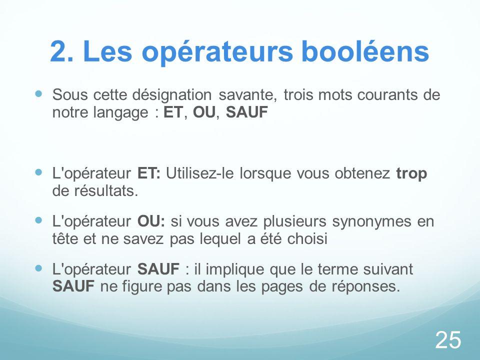 2. Les opérateurs booléens Sous cette désignation savante, trois mots courants de notre langage : ET, OU, SAUF L'opérateur ET: Utilisez-le lorsque vou