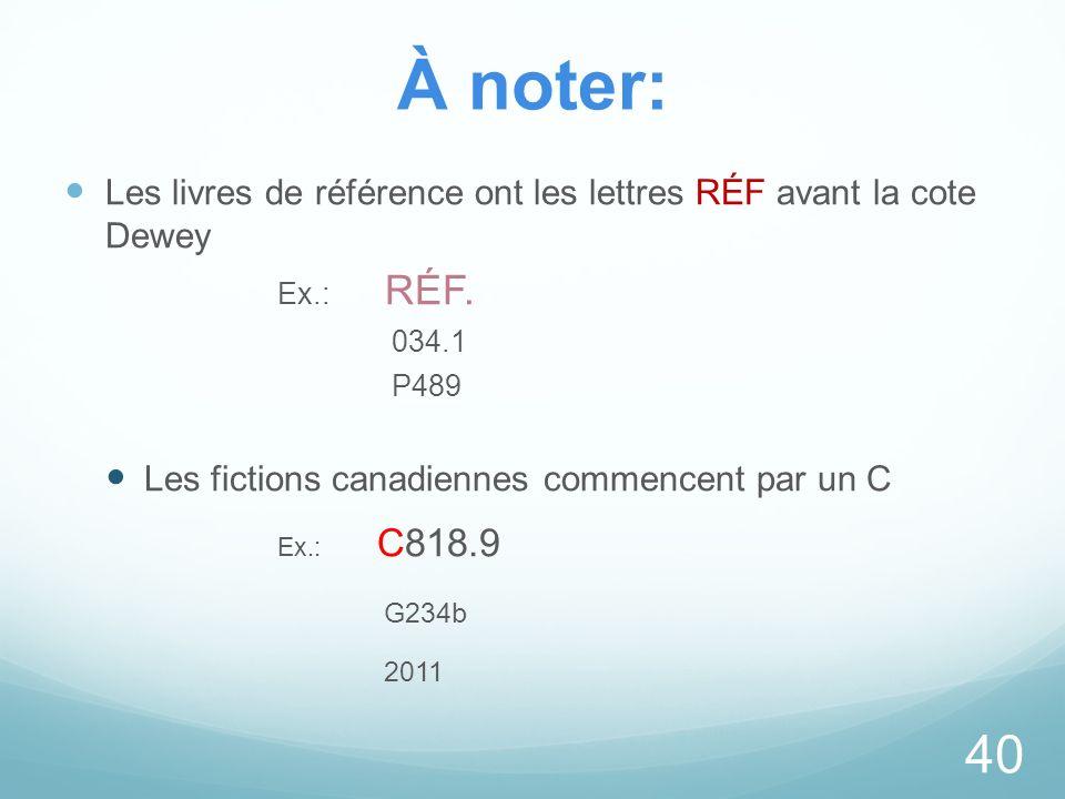 À noter: Les livres de référence ont les lettres RÉF avant la cote Dewey Ex.: RÉF. 034.1 P489 Les fictions canadiennes commencent par un C Ex.: C818.9