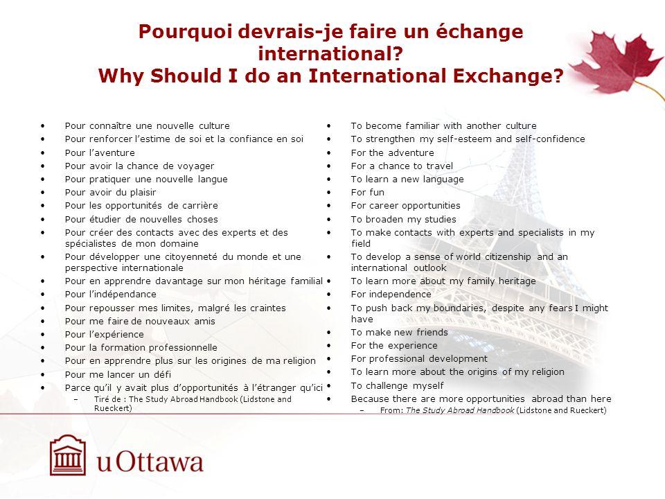 Pourquoi devrais-je faire un échange international.