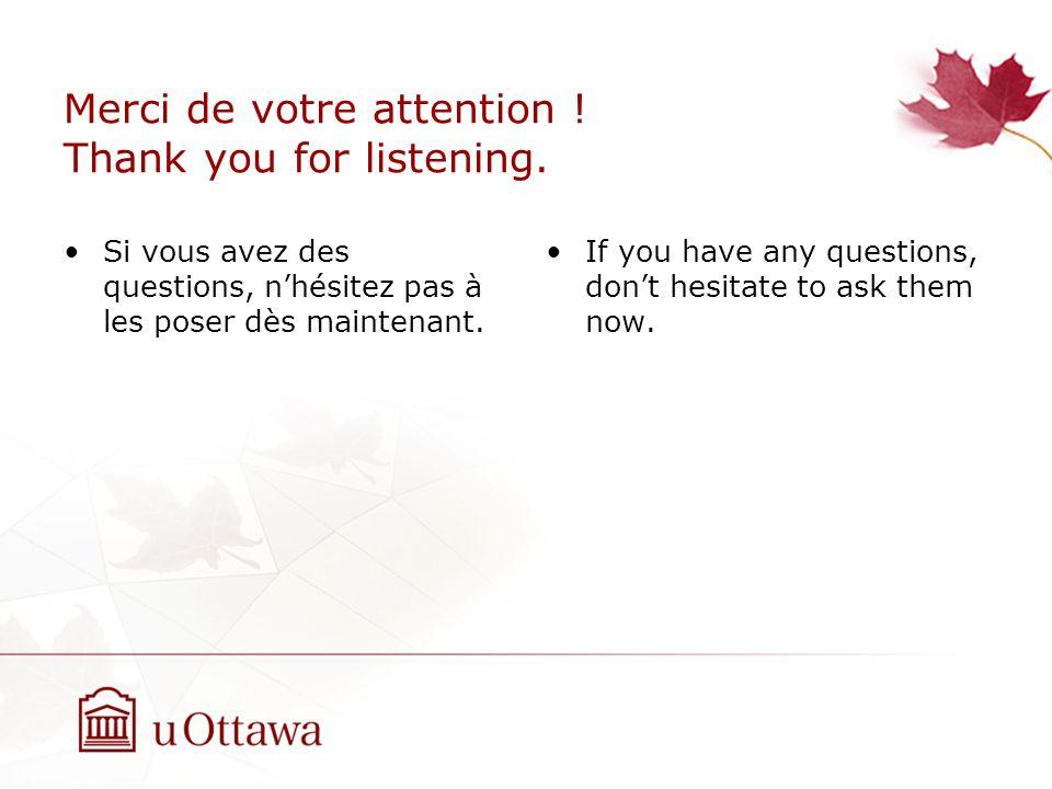Merci de votre attention . Thank you for listening.
