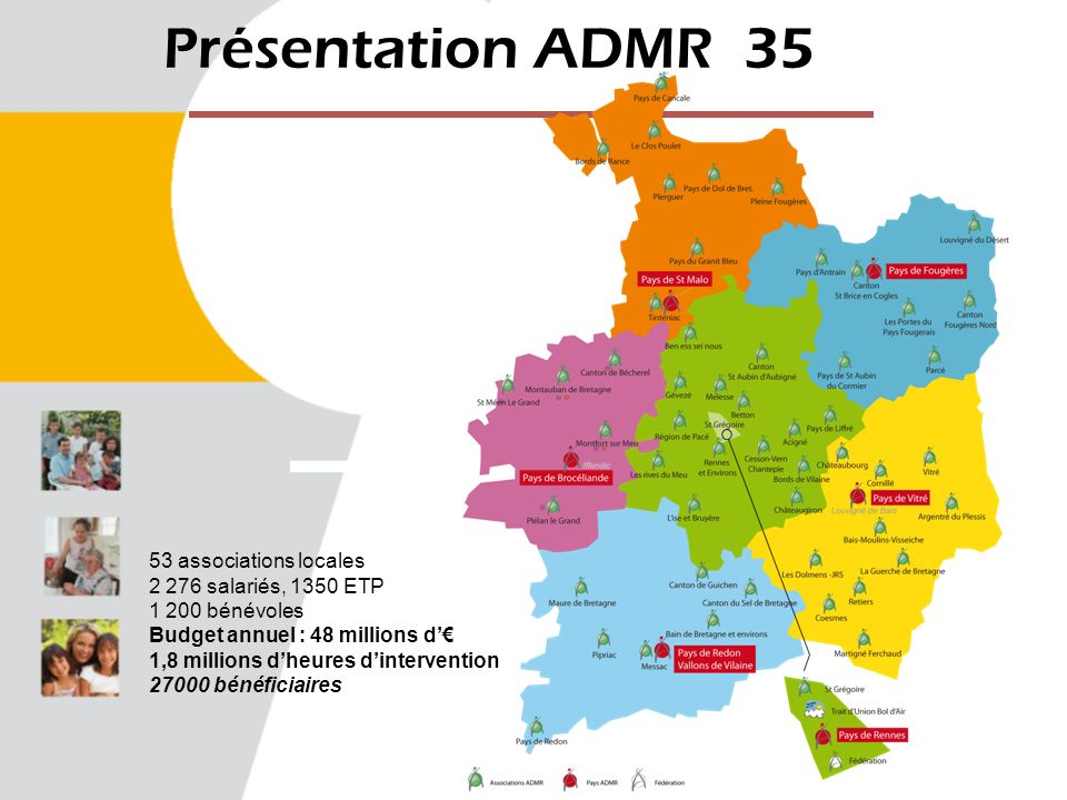 Présentation ADMR 35 53 associations locales 2 276 salariés, 1350 ETP 1 200 bénévoles Budget annuel : 48 millions d 1,8 millions dheures dintervention 27000 bénéficiaires