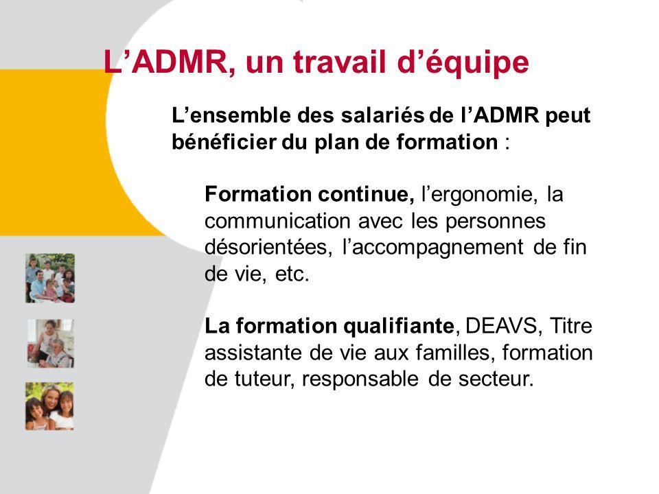 LADMR, un travail déquipe Lensemble des salariés de lADMR peut bénéficier du plan de formation : Formation continue, lergonomie, la communication avec les personnes désorientées, laccompagnement de fin de vie, etc.