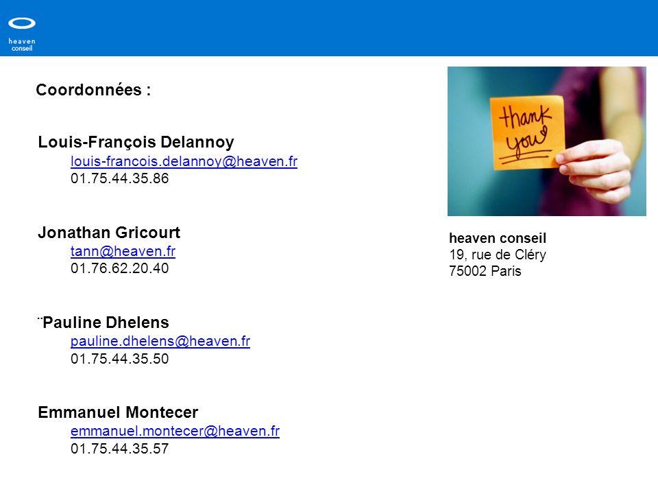 Coordonnées : Louis-François Delannoy louis-francois.delannoy@heaven.fr 01.75.44.35.86 Jonathan Gricourt tann@heaven.fr 01.76.62.20.40 ¨ Pauline Dhele