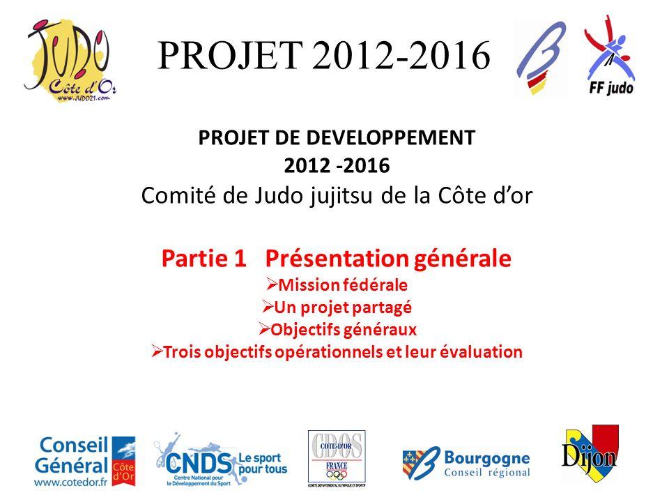 PROJET 2012-2016 PROJET DE DEVELOPPEMENT 2012 -2016 Comité de Judo jujitsu de la Côte dor Partie 1 Présentation générale Mission fédérale Un projet pa