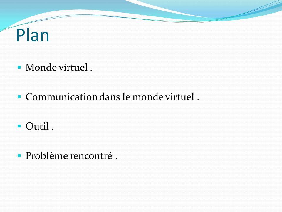Plan Monde virtuel. Communication dans le monde virtuel. Outil. Problème rencontré.