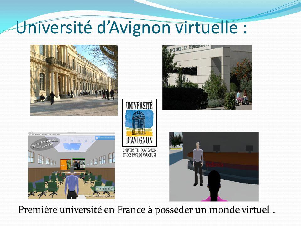Université dAvignon virtuelle : Première université en France à posséder un monde virtuel.