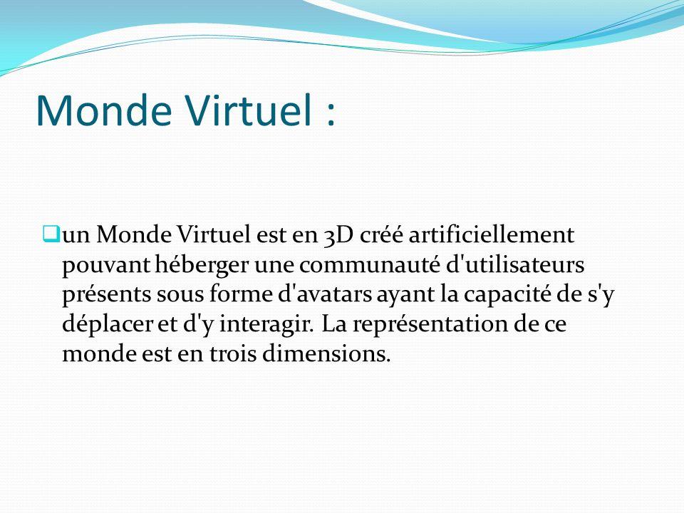 Monde Virtuel : un Monde Virtuel est en 3D créé artificiellement pouvant héberger une communauté d'utilisateurs présents sous forme d'avatars ayant la