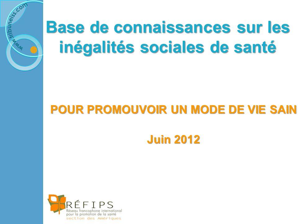Base de connaissances sur les inégalités sociales de santé POUR PROMOUVOIR UN MODE DE VIE SAIN Juin 2012