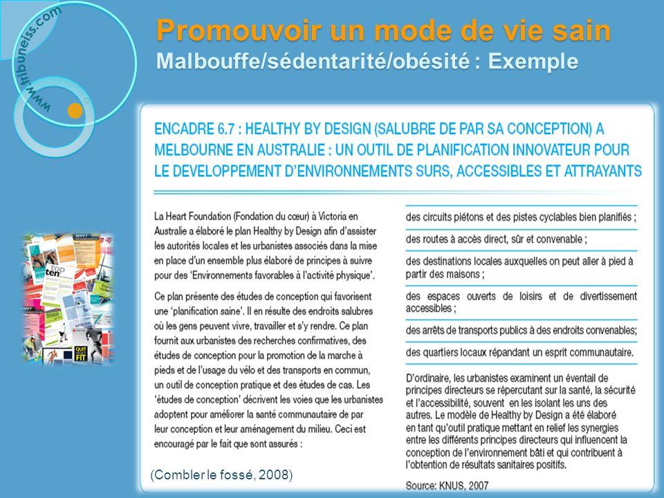 (Combler le fossé, 2008) Promouvoir un mode de vie sain Malbouffe/sédentarité/obésité : Exemple