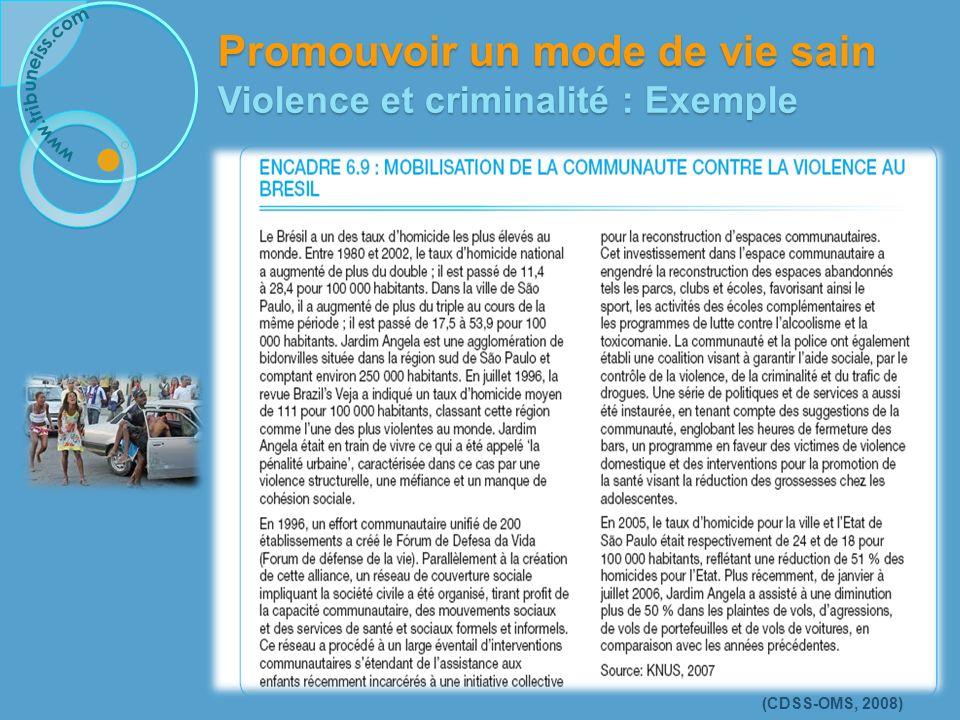 (CDSS-OMS, 2008) Promouvoir un mode de vie sain Violence et criminalité : Exemple