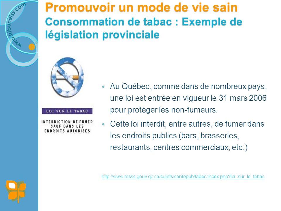 Promouvoir un mode de vie sain Consommation de tabac : Exemple de législation provinciale Au Québec, comme dans de nombreux pays, une loi est entrée en vigueur le 31 mars 2006 pour protéger les non-fumeurs.