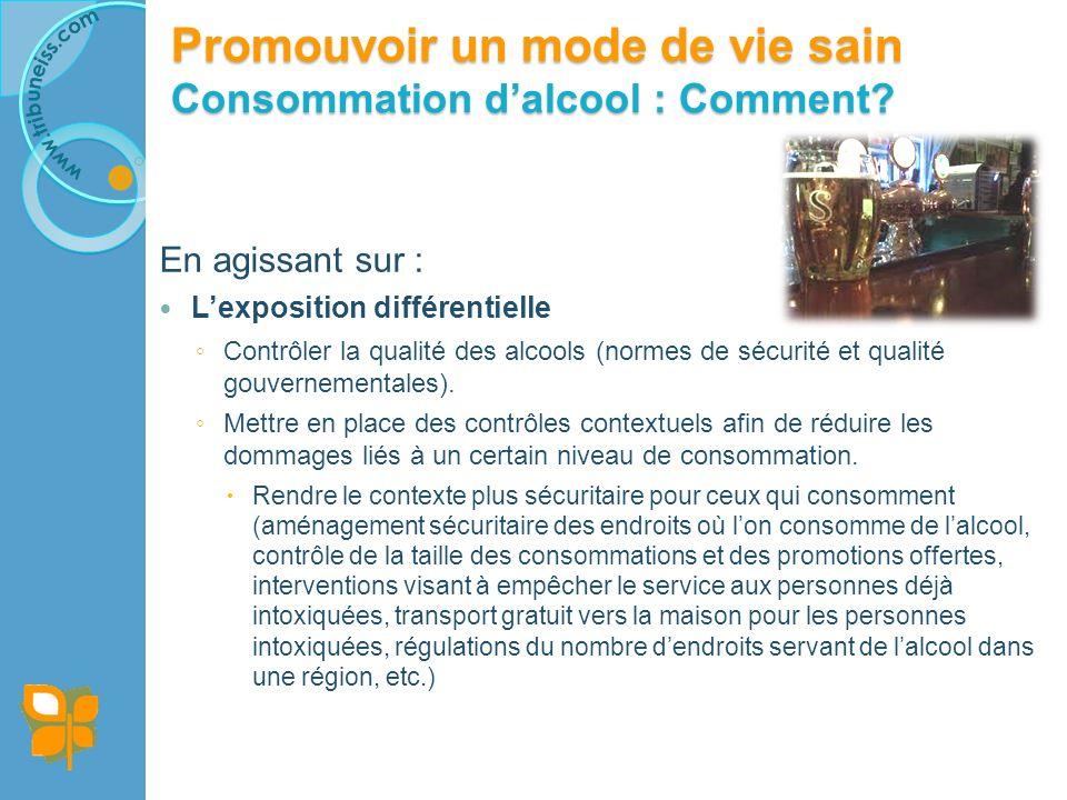 En agissant sur : Lexposition différentielle Contrôler la qualité des alcools (normes de sécurité et qualité gouvernementales).