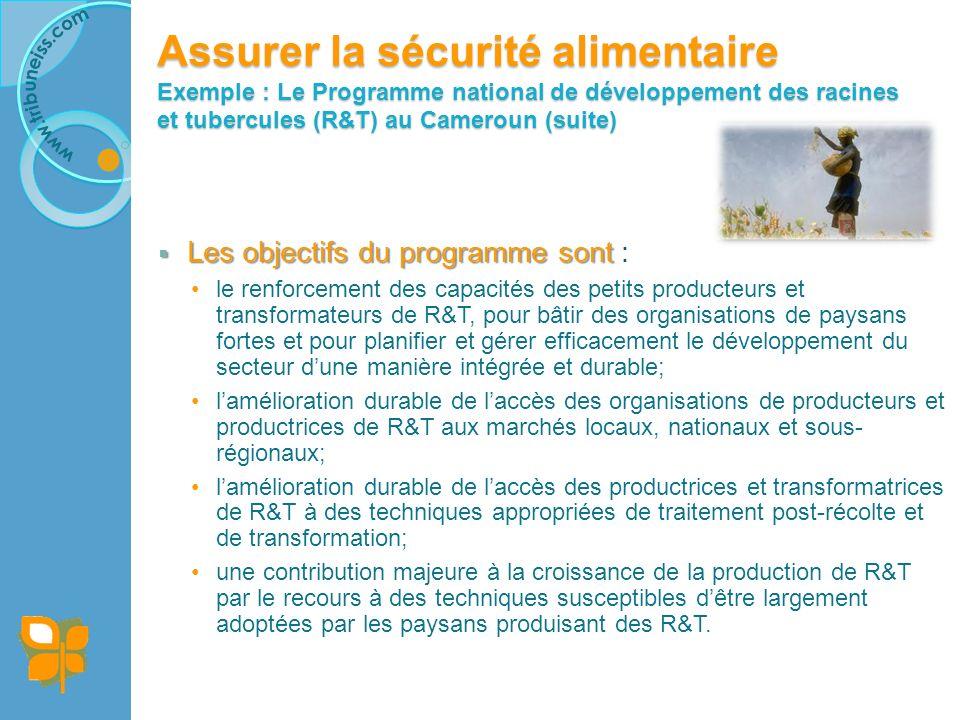 Assurer la sécurité alimentaire Exemple : Le Programme national de développement des racines et tubercules (R&T) au Cameroun (suite) Les objectifs du programme sont Les objectifs du programme sont : le renforcement des capacités des petits producteurs et transformateurs de R&T, pour bâtir des organisations de paysans fortes et pour planifier et gérer efficacement le développement du secteur dune manière intégrée et durable; lamélioration durable de laccès des organisations de producteurs et productrices de R&T aux marchés locaux, nationaux et sous- régionaux; lamélioration durable de laccès des productrices et transformatrices de R&T à des techniques appropriées de traitement post-récolte et de transformation; une contribution majeure à la croissance de la production de R&T par le recours à des techniques susceptibles dêtre largement adoptées par les paysans produisant des R&T.